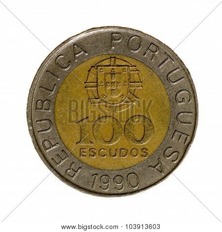 Portugal Hundred Escudos Coin Isolated On White Background. Top View.