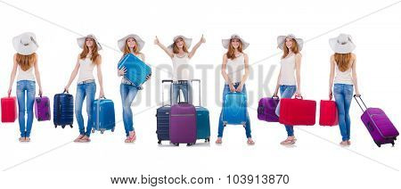 Set of photos with woman travelling