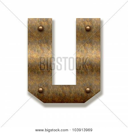 Rusty Metal Letter U. Alphabet Isolated On White Background