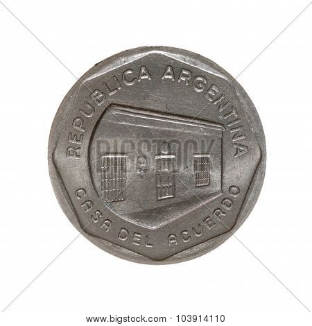 Coin Ten Austral Argentina Isolated On White Background. Top View.