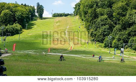 KOSICE SLOVAKIA - JULY 11: sports training base with tracks for cyclists outside the city  Kosice, Slovakia on July 11, 2015.