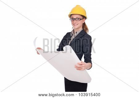 Woman architect with blueprints on white