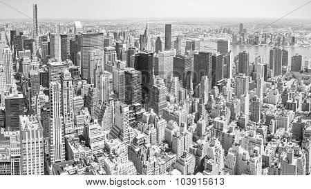 Black And White Toned Panoramic View Of Manhattan, Nyc.