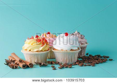 Colorful Pink Cupcake On Aquamarine Background