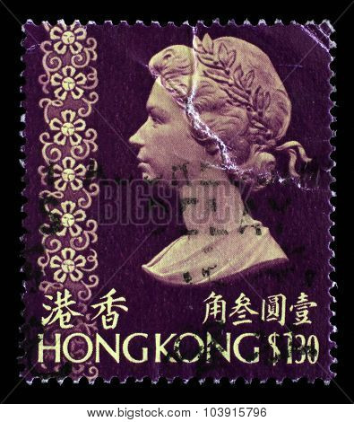 HONG KONG - CIRCA 1973: A stamp printed in Hong Kong shows a portrait of Queen Elizabeth II, circa 1973.