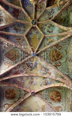 LEPOGLAVA, CROATIA - SEPTEMBER 21: Fresco painting on the ceiling of the parish Church of the Immaculate Conception of the Virgin Mary in Lepoglava on September 21, 2014