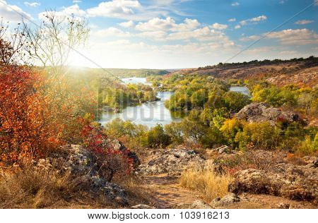 Colorful Trees and River - beautiful sunny autumn day, panoramic scene of fall season