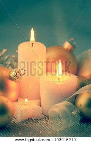 Vintage color Christmas Decorations with Candles and Baubles