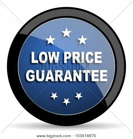 low price guarantee blue circle glossy web icon on white background, round button for internet and mobile app