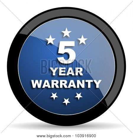 warranty guarantee 5 year blue circle glossy web icon on white background, round button for internet and mobile app