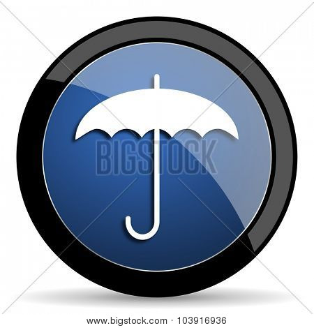 umbrella blue circle glossy web icon on white background, round button for internet and mobile app