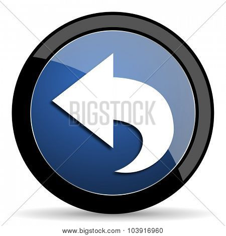back blue circle glossy web icon on white background, round button for internet and mobile app