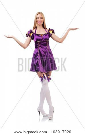 Cute girl in purple masquerade dress isolated on white