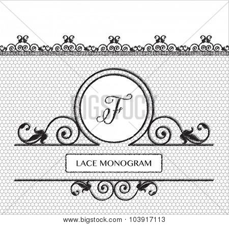 Letter F black lace monogram, stitched on seamless tulle background with antique style floral border. EPS10 vector format.