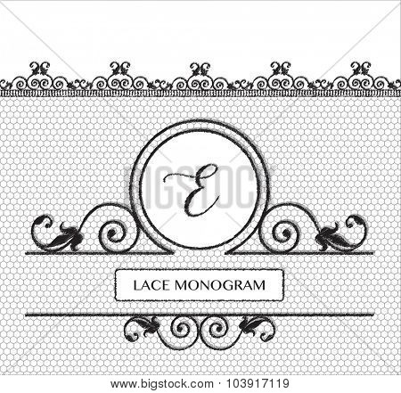Letter E black lace monogram, stitched on seamless tulle background with antique style floral border. EPS10 vector format.