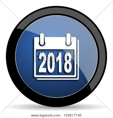 new year 2018 blue circle glossy web icon on white background, round button for internet and mobile app