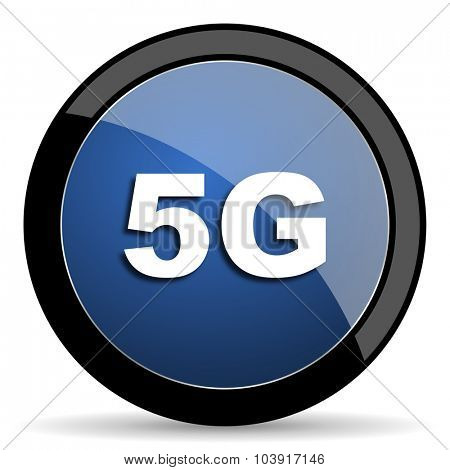 5g blue circle glossy web icon on white background, round button for internet and mobile app