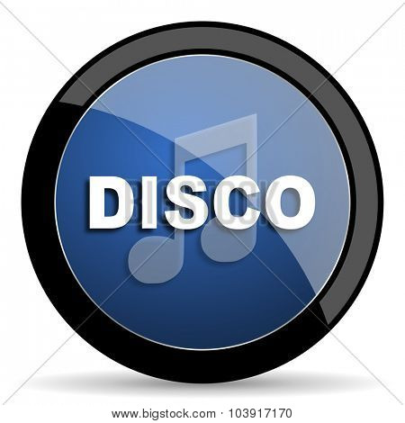 disco music blue circle glossy web icon on white background, round button for internet and mobile app