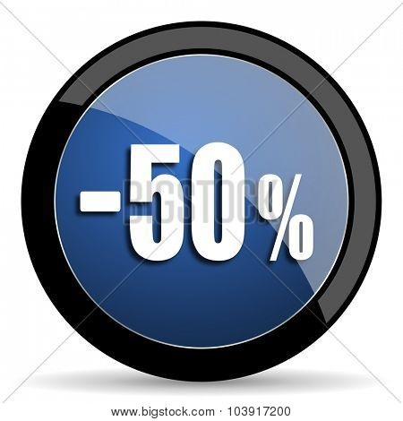 50 percent sale retail blue circle glossy web icon on white background, round button for internet and mobile app