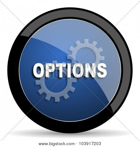 options blue circle glossy web icon on white background, round button for internet and mobile app
