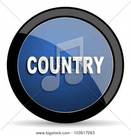 music country blue circle glossy web icon on white background, round button for internet and mobile app