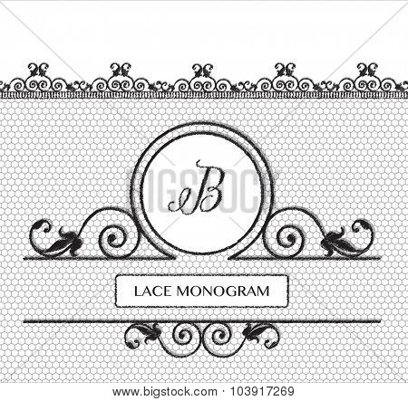 Letter B black lace monogram, stitched on seamless tulle background with antique style floral border. EPS10 vector format.