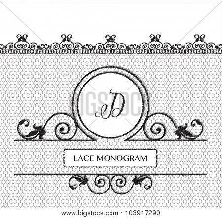 Letter D black lace monogram, stitched on seamless tulle background with antique style floral border. EPS10 vector format.
