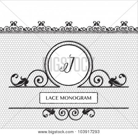Letter I black lace monogram, stitched on seamless tulle background with antique style floral border. EPS10 vector format.