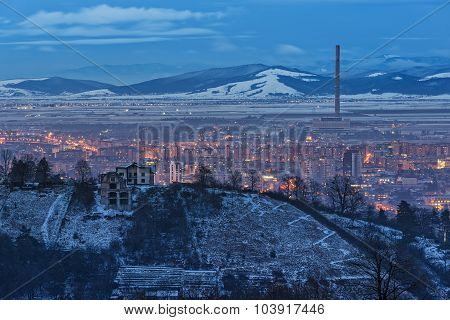 Brasov Winter Cityscape At Dusk