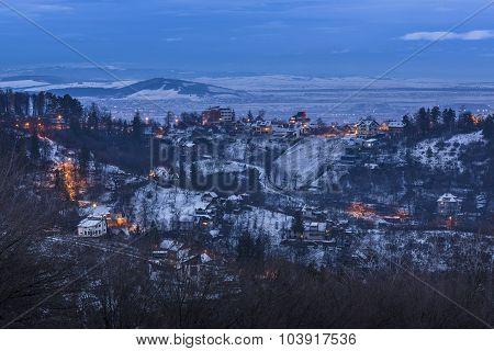 Winter Twilight In Brasov, Romania