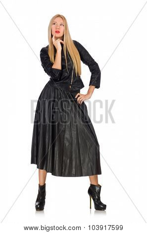 Blondie in leatner clothing isolated on white