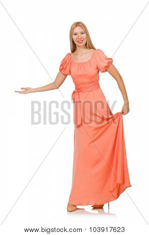 Young woman in pink romantic dress isolated on white