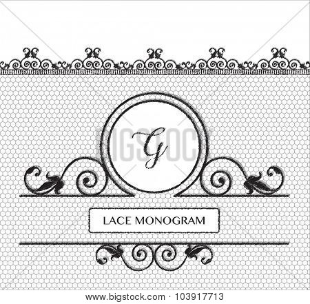 Letter G black lace monogram, stitched on seamless tulle background with antique style floral border. EPS10 vector format.