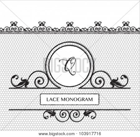 Letter Q black lace monogram, stitched on seamless tulle background with antique style floral border. EPS10 vector format.