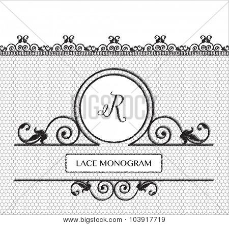 Letter R black lace monogram, stitched on seamless tulle background with antique style floral border. EPS10 vector format.