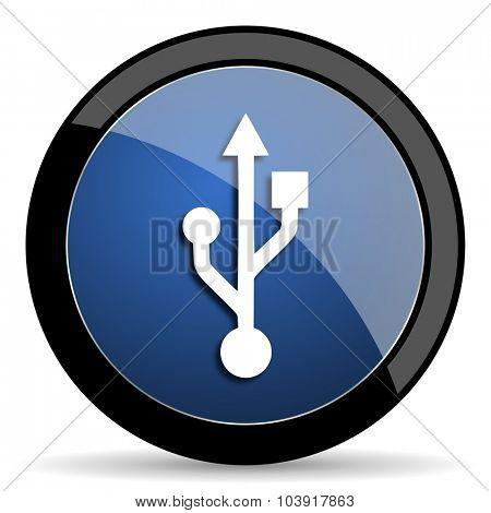 usb blue circle glossy web icon on white background, round button for internet and mobile app