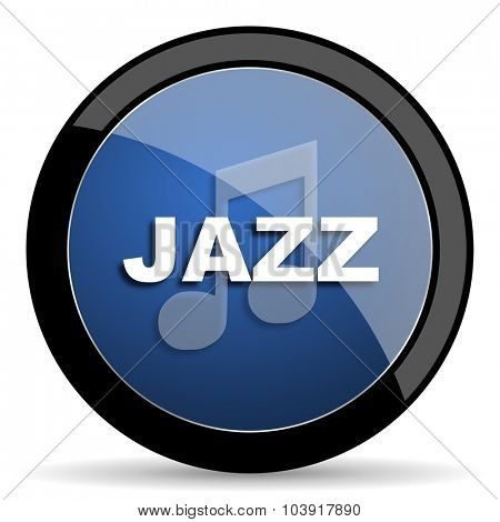 jazz music blue circle glossy web icon on white background, round button for internet and mobile app