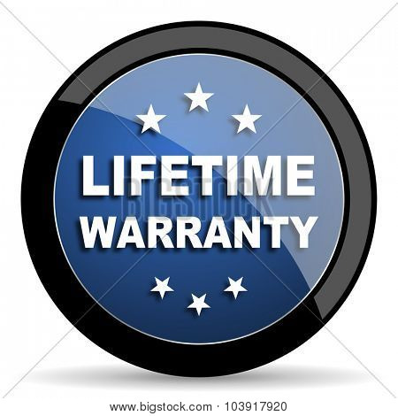 lifetime warranty blue circle glossy web icon on white background, round button for internet and mobile app