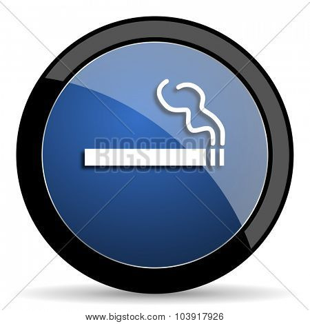 cigarette blue circle glossy web icon on white background, round button for internet and mobile app