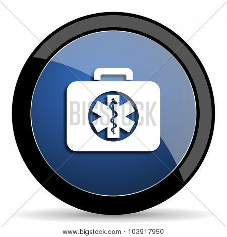 rescue kit blue circle glossy web icon on white background, round button for internet and mobile app