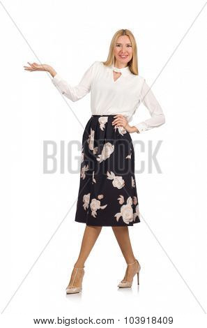 Pretty girl in black skirt with flowers isolated on white