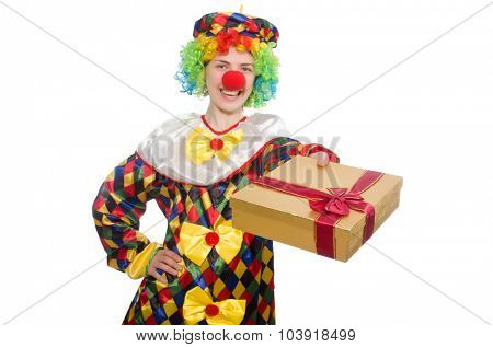 Clown with giftbox isolated on white