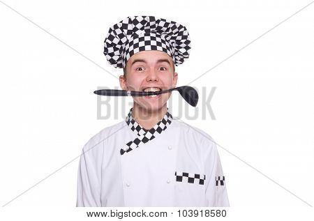 Young chef in uniform isolated on white