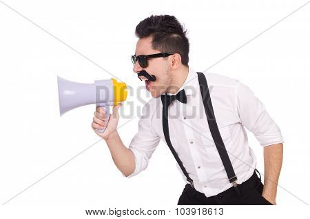 Emotional man with loudspeaker isolated on white