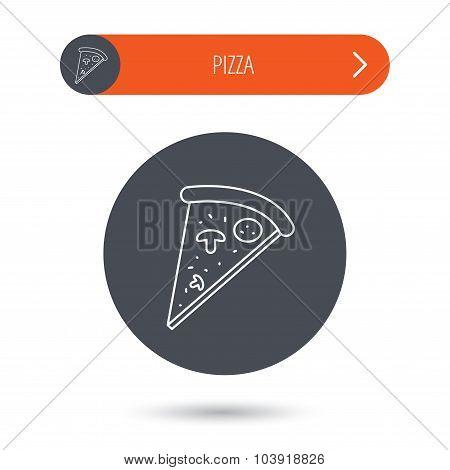 Pizza icon. Piece of Italian bake sign.