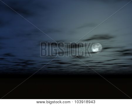 The moon in the night sky above a bottomless surface