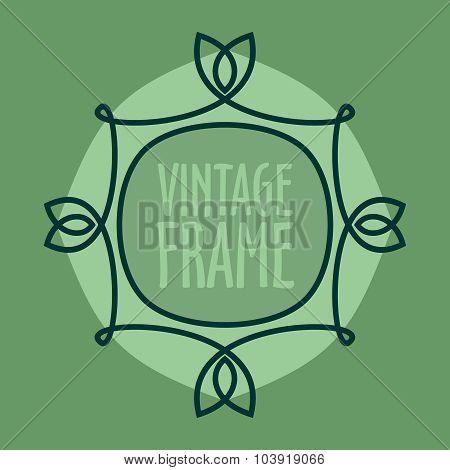 Simple Vintage Outlined Frame. Floral Retro Design.