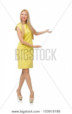 Pretty fair girl in yellow dress isolated on white