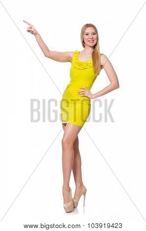 Pretty tall woman in short yellow dress isolated on white