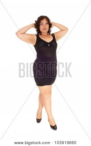 Young Pretty Woman In Black Dress.